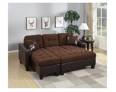 Chocolate Microfiber Sectional with Ottoman - Furniture App Online by Furniture Assistant  a Furniture Store in York PA