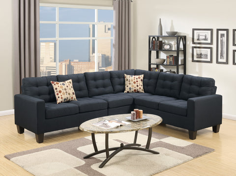 Black Polyfiber 4 PC Sectional Sofa Set - Furniture App Online by Furniture Assistant  a Furniture Store in York PA