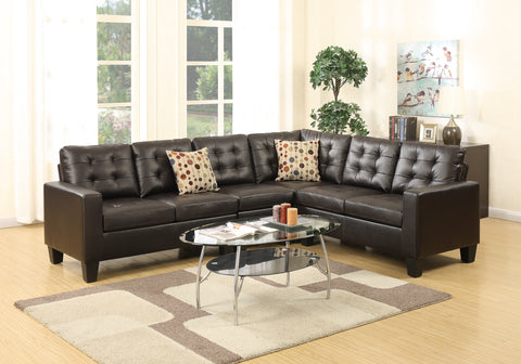 Espresso Leather 4 PC Sectional Sofa Set - Furniture App Online by Furniture Assistant  a Furniture Store in York PA