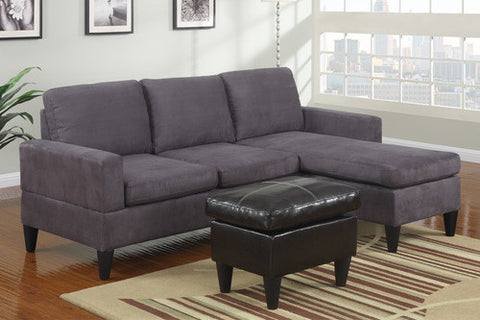 Grey Microfiber Sectional Sofa & Ottoman - Furniture App Online by Furniture Assistant  a Furniture Store in York PA