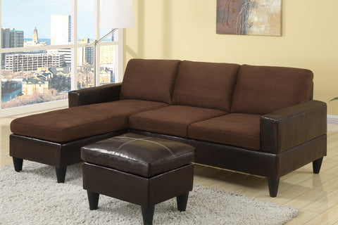 Chocolate Microfiber Sectional Sofa & Ottoman - Furniture App Online by Furniture Assistant  a Furniture Store in York PA