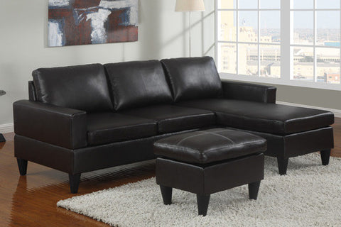 Black Leather Sectional Sofa & Ottoman - Furniture App Online by Furniture Assistant  a Furniture Store in York PA