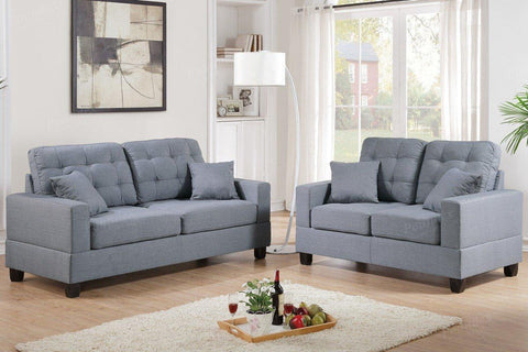 2 Piece Grey Linen-Like Fabric Sofa Loveseat Set - Furniture App Online by Furniture Assistant  a Furniture Store in York PA
