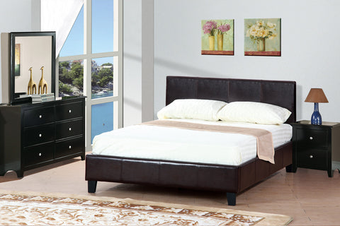 Espresso Faux Leather Queen Platform Bed - Furniture App Online by Furniture Assistant  a Furniture Store in York PA