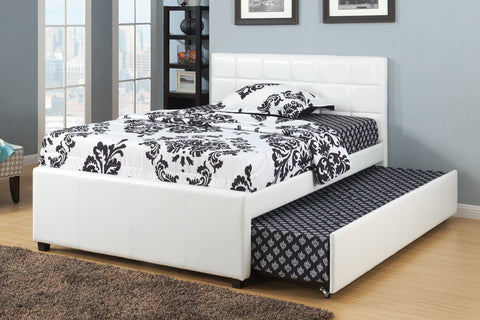 Cream White Leather Bed with Trundle - Furniture App Online by Furniture Assistant  a Furniture Store in York PA