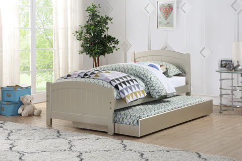Silver Wood Twin Bed with Trundle - Furniture App Online by Furniture Assistant  a Furniture Store in York PA