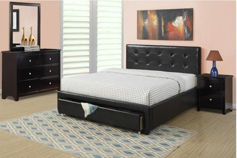 Black Leather Platform Bed with Underdrawer - Furniture App Online by Furniture Assistant  a Furniture Store in York PA
