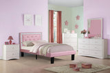 Pink Leather Kids Twin Bed - Furniture App Online by Furniture Assistant  a Furniture Store in York PA