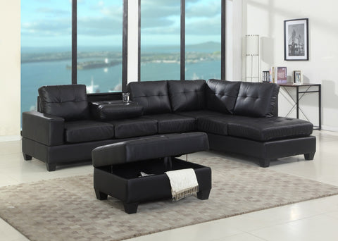 Reversible Leather Sectional with Ottoman - Furniture App Online by Furniture Assistant  a Furniture Store in York PA