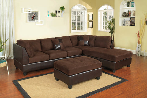 Chocolate Microfiber Sectional with Ottoman - Furniture App Online