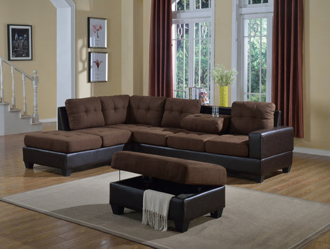 Brown Or Tan Reversible Microfiber Sectional w/Ottoman - Furniture App Online by Furniture Assistant  a Furniture Store in York PA