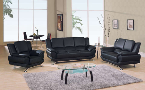 Rogers Collection Stark Black Leather Sofa With Chrome Legs