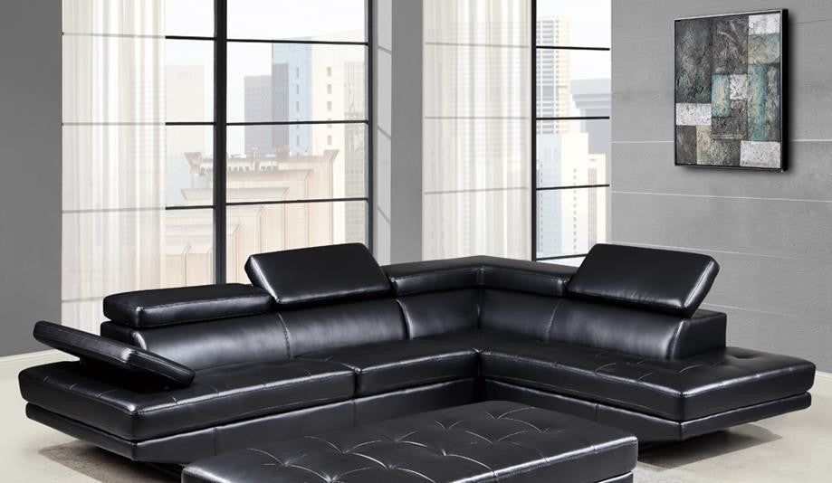 2 Piece Living Room Set In Black Leather By Global Furniture App Online