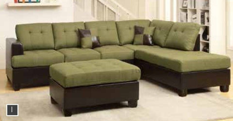 Sage Leather Reversible Chaise Sectional + Ottoman - Furniture App Online by Furniture Assistant  a Furniture Store in York PA