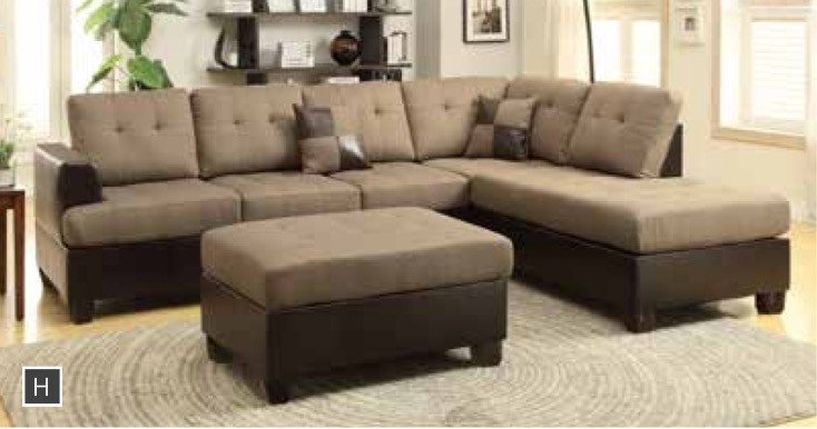 Leather Reversible Chaise Sectional + Ottoman   Furniture App Online By  Furniture Assistant A Furniture Store