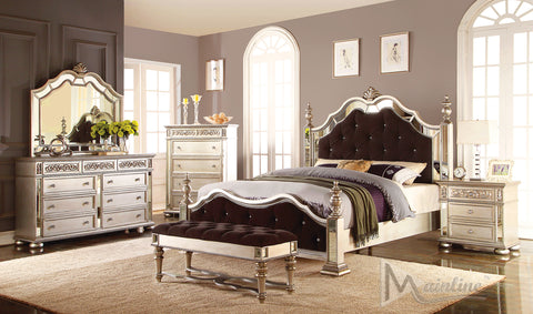 Bijoux  Neo-Classical Bed with Mirror Rims and Tuftings