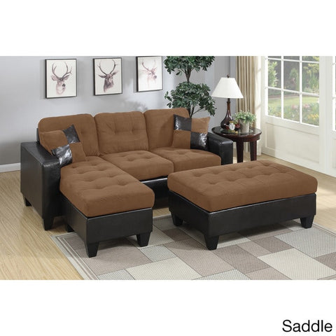 Mircofiber and Leather Piacenza Sectional with Ottoman - Furniture App Online by Furniture Assistant  a Furniture Store in York PA