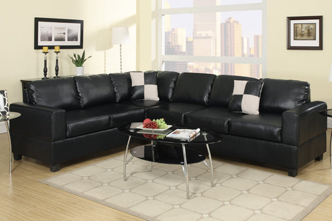 2 PC Black Leather Sectional - Furniture App Online by Furniture Assistant  a Furniture Store in York PA