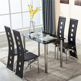 5 Piece Glass Dining Table Set with 4 Leather Chairs - Furniture App Online by Furniture Assistant  a Furniture Store in York PA
