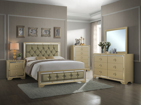 Gold Crystal Tufted Bed with Mirrored Accents-Bedroom Set-Furniture App Online (717) 685-6333