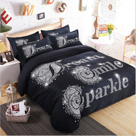 Black Linen Duvet Cover Set Dream Smile Sparkle 3PCS Queen Comforter Cover Pillowcase - Furniture App Online by Furniture Assistant  a Furniture Store in York PA