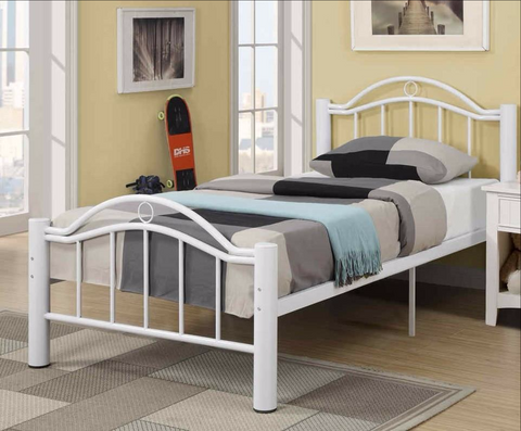 White Metal Platform Bed - Furniture App Online