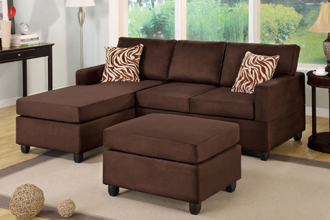 3 PCS Chocoloate Microfiber Sectional with Ottoman - Furniture App Online by Furniture Assistant  a Furniture Store in York PA