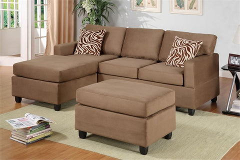 3 PCS Saddle Microfiber Sectional with Ottoman - Furniture App Online by Furniture Assistant  a Furniture Store in York PA