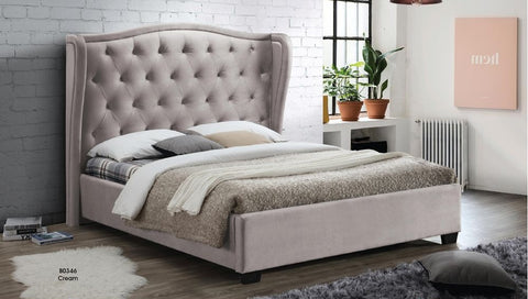 Cream Poly-Linen Upholstered Bed - Furniture App Online by Furniture Assistant  a Furniture Store in York PA