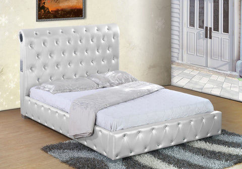 White Pearl Crystal Bluetooth Bed - Furniture App Online