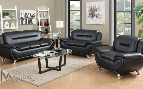 Black Napoli Leather-Matching Living Room Set - Furniture App Online by Furniture Assistant  a Furniture Store in York PA