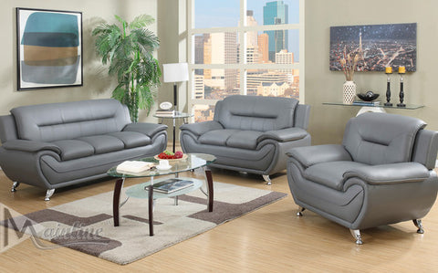 Grey Napoli Leather-Matching Living Room Set - Furniture App Online by Furniture Assistant  a Furniture Store in York PA