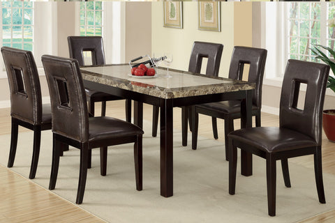 Dark Brown 7 PCS Marble Top Dining Set - Furniture App Online by Furniture Assistant  a Furniture Store in York PA