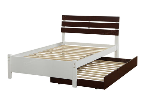 Brown and White Platform Bed with Trundle - Furniture App Online by Furniture Assistant  a Furniture Store in York PA
