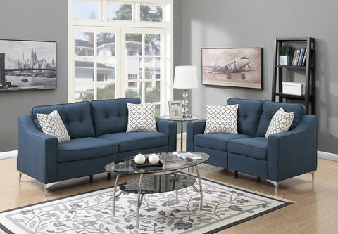 2 PC Light Navy Polyfiber Sofa Set - Furniture App Online by Furniture Assistant  a Furniture Store in York PA