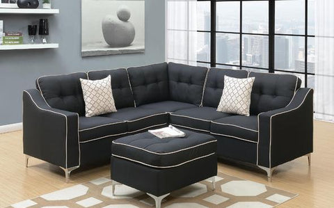 Black Polyfiber Sectional w/ Ottoman - Furniture App Online by Furniture Assistant  a Furniture Store in York PA