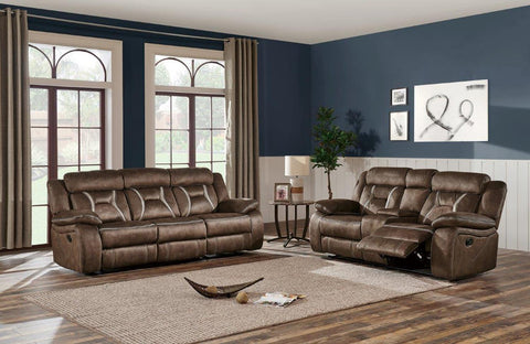 Lush Chocolate and Pecan Brown Reclining Sofa - Furniture App Online by Furniture Assistant  a Furniture Store in York PA