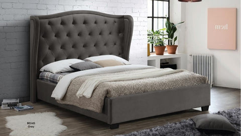 Grey Poly-Linen Upholstered Bed - Furniture App Online by Furniture Assistant  a Furniture Store in York PA