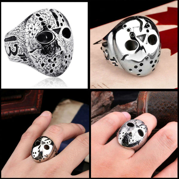 Friday The 13th Jason Voorhees Mask Ring in Stainless Steel or Weathered Gray