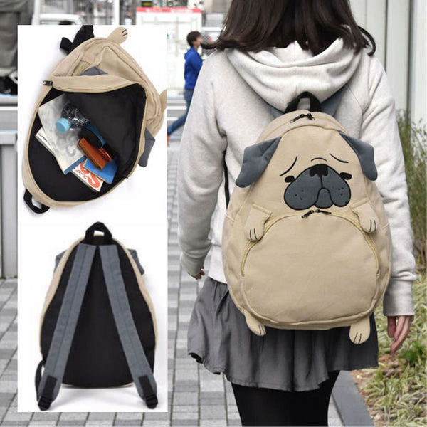 Cute Pug or Fox Corduroy Backpack