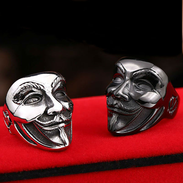 V for Vendetta Guy Fawkes Mask-style Stainless Steel Ring