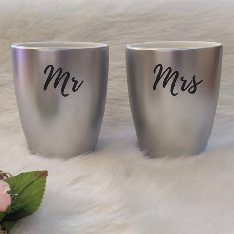Unbreakable Couple Mugs - Set of 2 - Mr & Mrs - Silver