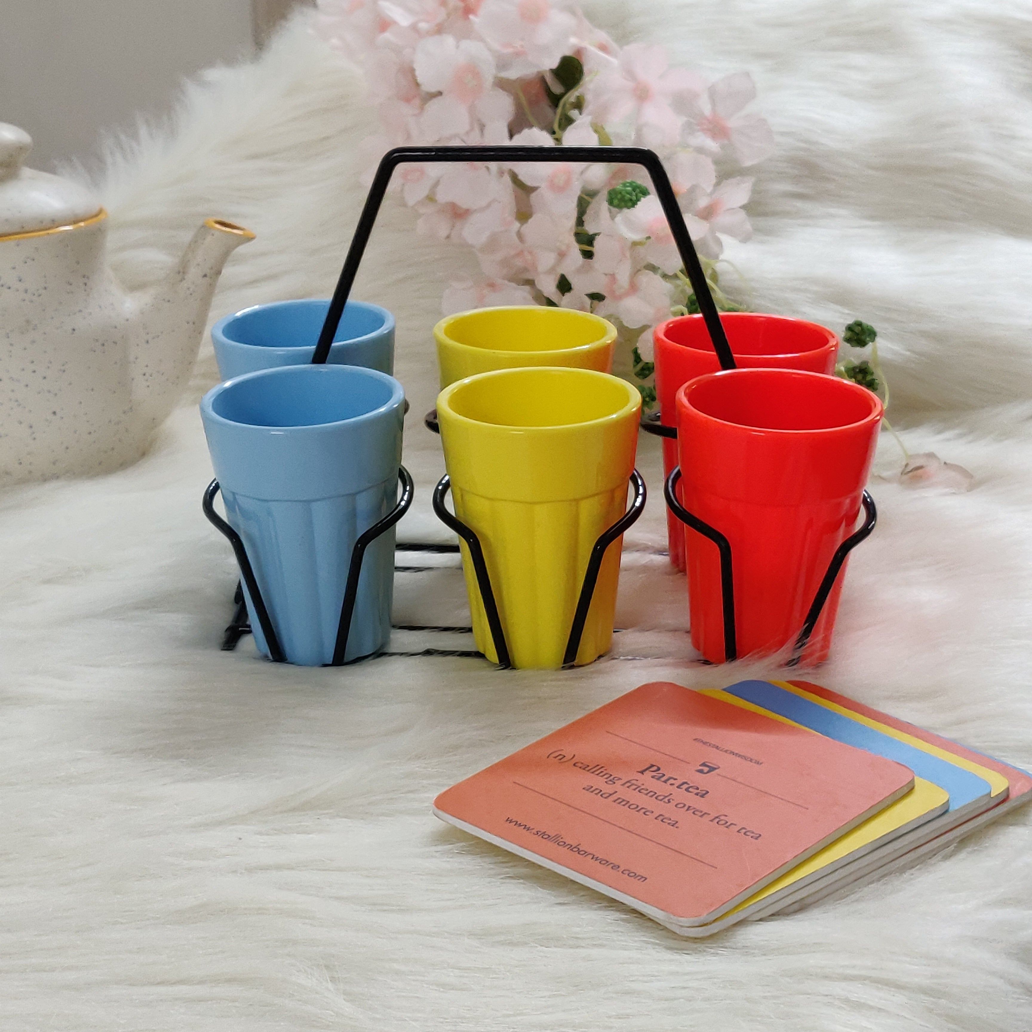 Unbreakable multicolor cutting chai cups with black stand (Set of 6) - Morning Hues Collection