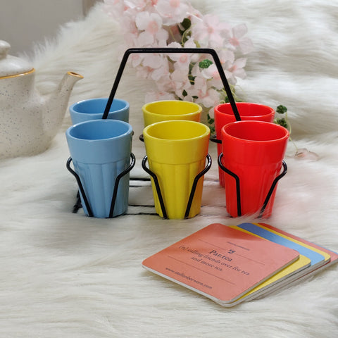 Unbreakable Cutting Chai Cups with Stand - Set of 6 - Morning Hues