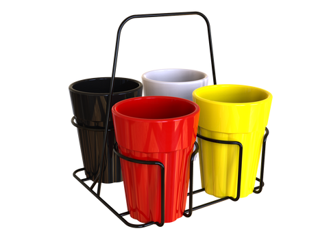 Unbreakable solid multicolor cutting chai cups with black stand (Set of 4)