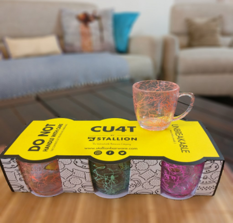 Unbreakable neon mesh tea cups (Set of 6) - Neon Collection