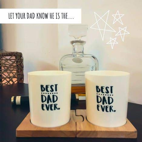 Unbreakable Best Dad Ever Food-Safe Whiskey Glasses (350 ml) Set of 2