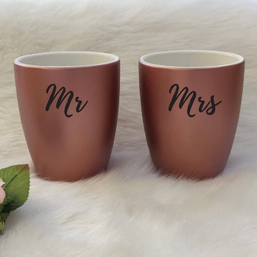 Unbreakable Couple Mugs - Set of 2 - Mr & Mrs - Rose Gold