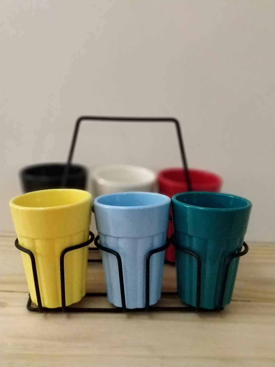 Unbreakable Cutting Chai Cups with Black Caddy (150ml, Solid Multicolor) - Set of 6