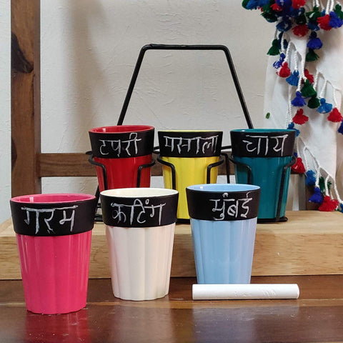Unbreakable Polycarbonate Chalkboard Tea Cups with Black Caddy (150 ml, Multicolour) - Set of 6